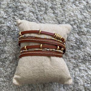 Stella & Dot cognac leather mixed metal bracelet